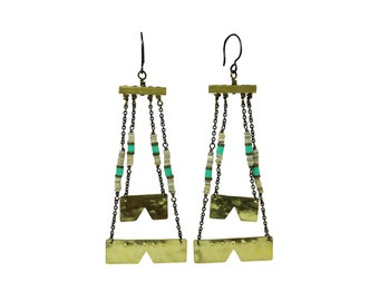 Dangle earrings with heishi beads and antiqued brass chain
