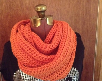 Orange infinity cowl scarf