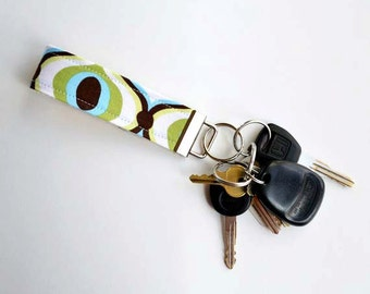 Key Fob in Feeling Groovy Blue Fabric