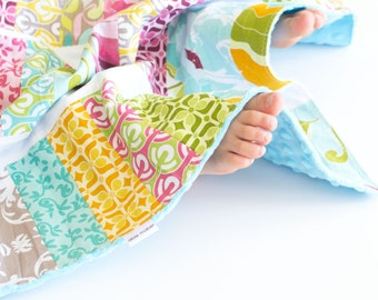 Patchwork Baby Girl Blanket, Halle Rose Patchwork Jelly Roll Quilt with Minky