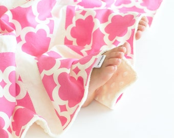 Small Patchwork Blanket for Baby Girl, Tarika Flowers with Vanilla Minky (1)