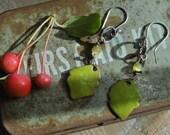 Green Enamel Leaf Earrings