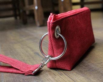 Zipper Pouch Clutch Wallet - Long Wallet - Cell Phone Case - Passport - Errand Runner - Evening Bag - Zip Fabric Wallet - Wristlet - Red
