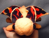 Orange Fire-Bellied Dragonette, handmade dragon plush