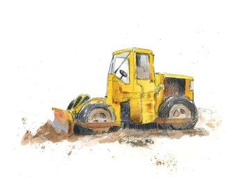 Yellow Bulldozer Truck Print - Construction Truck Nursery - Truck Nursery Wall Decor - Truck Wall Art