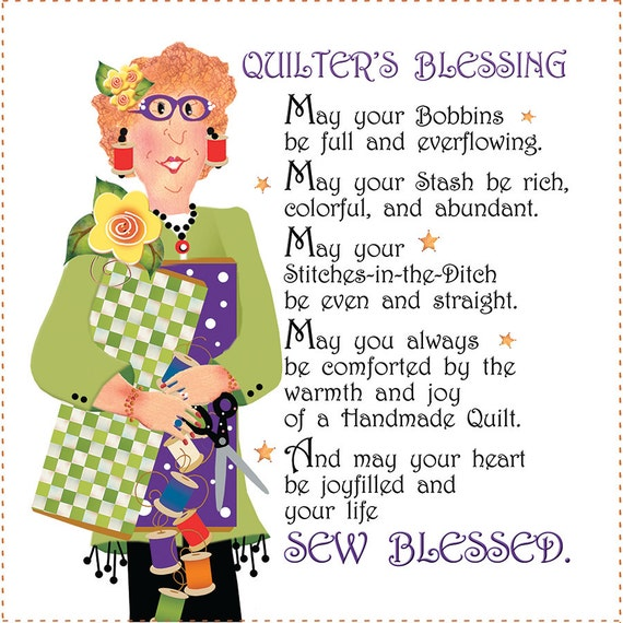 """6"""" Fabric Art Panel - Quilter's Blessing"""
