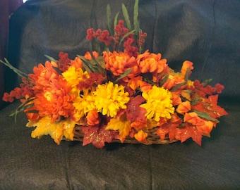 Autumn Fall Floral Centerpiece Handmade in Basket