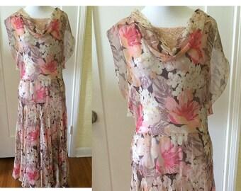 SALE!!   1930s Silk Chiffon Dress, 30s Floral Evening Gown, 1920s Bridesmaid, Vintage Garden Party, Antique Lace, Gatsby Style, Bias Cut