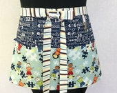 Autism Pieces of Hope2 Blue Zipper/Key Clasp Vendor Apron-choose your fabrics
