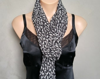 Shades of Gray and Black Scarf
