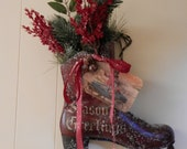 Vintage Ice Skate to Hang Inside or Out at Christmas