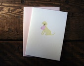 Letterpress Printed Yellow Lab Valentine Card - single