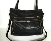 large Willow bag in black - lizard embossed