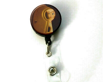 "1.25"" Peter Pan Tinkerbell Keyhole Button Retractable ID Name Holder Badge Reel Clip On Nurse"
