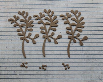 3 Bare chipboard die cuts mistletoe and berry 2 3/4 inches w x 3 5/8 inches tall
