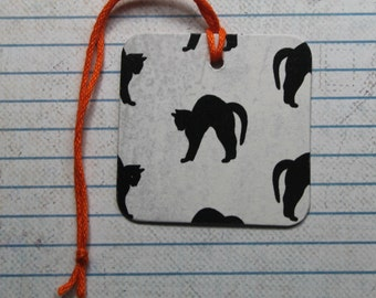24 Halloween Tags black cat paper over chipboard...2 x 2 inches