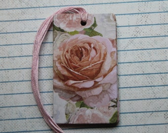 28 Pink, White, cream rose flower gift tags  patterned paper over chipboard