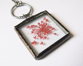 flower necklace - flower jewelry - red necklace - real flower necklace - small flower necklace - flower pendant - dried flower necklace