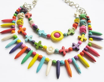 statement spike necklace - skull necklace - statement necklace  - day of the dead - colorful necklace
