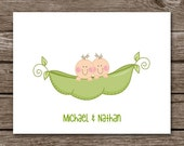 Twins Thank You Cards - Note Cards - Notecards - Twin Boys - Twin Girls - Twin Boy and Girl - Set of 8