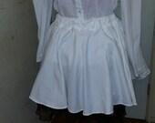 Pinstripe White Circle Skirt- CLEARANCE