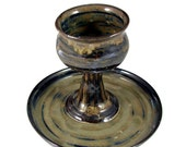 Ceramic Chalice and Paten Set - Handmade Goblet and Plate -  For Wedding, Communion or  Kiddush Ceremony - Stoneware Pottery - Ships Today