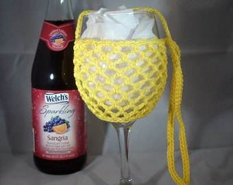 Wine Glass Holder Necklace sling lanyard cozy cooler crochet Lemon Yellow Ready To Ship