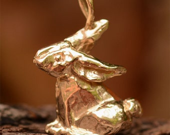 Gold Bronze Big Bunny Rabbit Charm or Pendant
