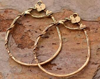 Fabulous Artisan Hoop Style Earrings in bronze, E-459-b