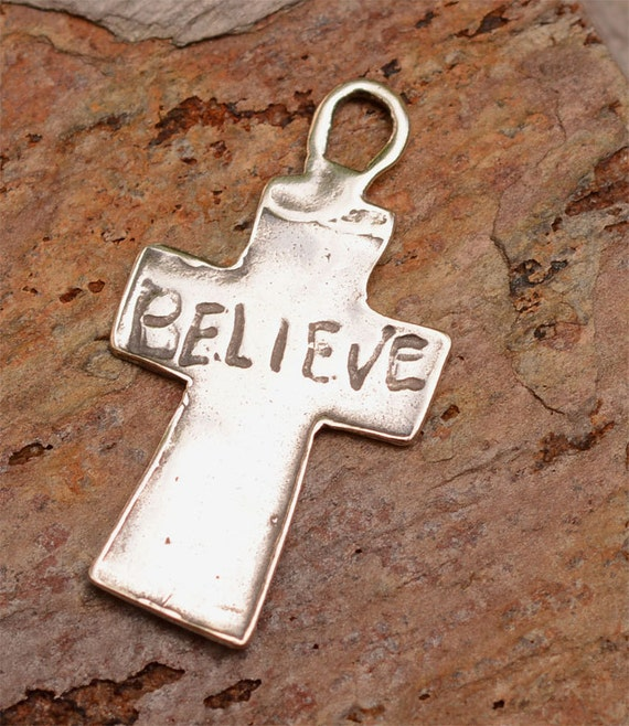 Believe Cross Sterling Silver Pendant