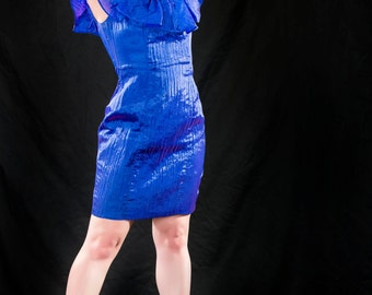 Vintage Ruffled Blue Dress Size 8
