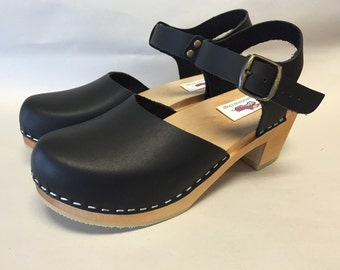 Black Oiled Dalanna Medium Heel w/ buckled ankle strap