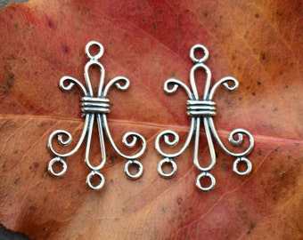Bali Sterling Silver Chandelier Pairs - Wheat 26mm x 18mm, Reducer