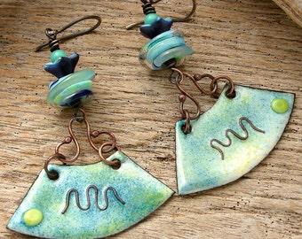 FIELDS OF BLUE - Handmade Lampwork, Handmade Enamel, Copper & Sterling Earrings
