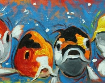 Fish 42 12x24 inch original fish goldfishkoi oil painting by Roz