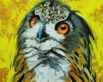 Owl painting 126 12x12 inch original oil painting by Roz