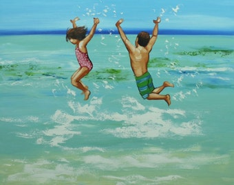 Commission your own Beach custom oil portrait Painting  by Roz
