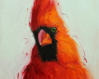 Cardinal 79 12x12 inch bird animal portrait original oil painting by Roz