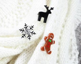 Christmas Mini Brooch Pin Set 2,Christmas Jewelry