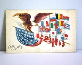 1918 WWI Postcard, Antique Patriotic Ephemera, Our Allies Flags, Bald Eagle on U.S. Flag, Stars and Stripes, Craft Supplies, Fourth of July