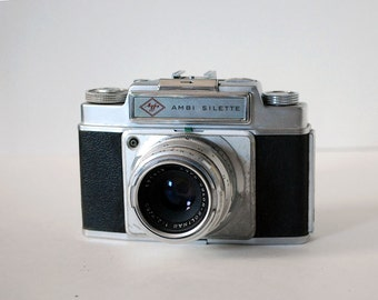 1950s German Camera, Agfa Ambi Silette, Vintage 35mm Film Camera, Range Finder, 50mm Lens, Leather Case, Photography Equipment, Industrial