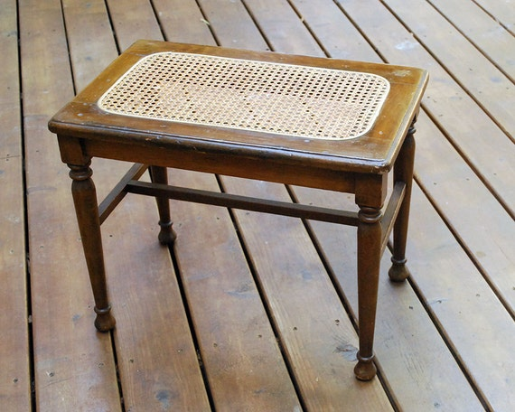 Vintage Wood Bench Caned Seat Vanity Piano Stool Side Table