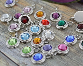 Birthstone Charms Bright Rhodium TierraCast Charms Swarovski Crystals Silver Charms Qty 1 to 6 Tiny Charm Drops, Silk or Leather Wrap Charms