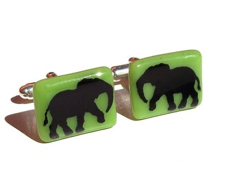 Glass Elephant Cufflinks Enamel Screenprint Custom Colours
