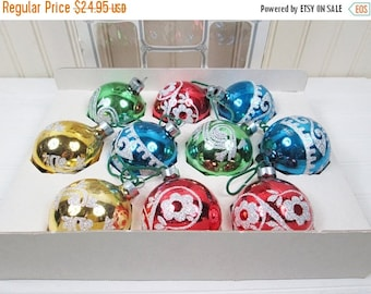 "ON SALE Vintage 2"" Glitter Christmas Ornaments Set 10 Glass In Box Lot Holly Decorations"