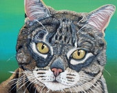 Custom  Portraits for Sara-4- 8 x 8  Canvas  Cat Art-Carla Smale