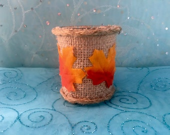 "Autumn Leaves, Glass Candle Holder 3"" with Soy Votive Candle"