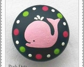 POSH KNOBS Whale Hand Painted Wooden Knobs, Drawer Pull, Nursery Decor, Custom Painted to Order...Priced per Knob