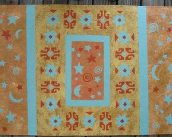 Floorcloth with Stars and Moons and Moroccan design - 30 x 48 inches