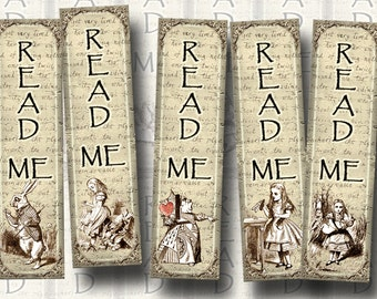 "Alice In Wonderland - 12 Mini Primitive Bookmarks -1.33""x5"" -Instant Download- Printable Collage Sheet  JPG Digital File"